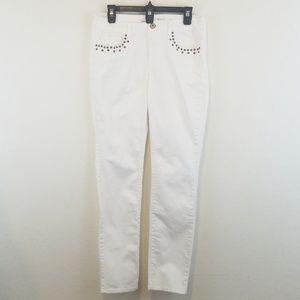 American Eagle Studs Skinny Jeans Stretch White 10